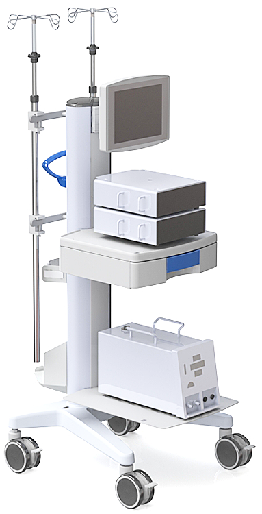 The ECLS Trolley is a stable and manoeuvrable hardware station for class leading ECMO equipment.